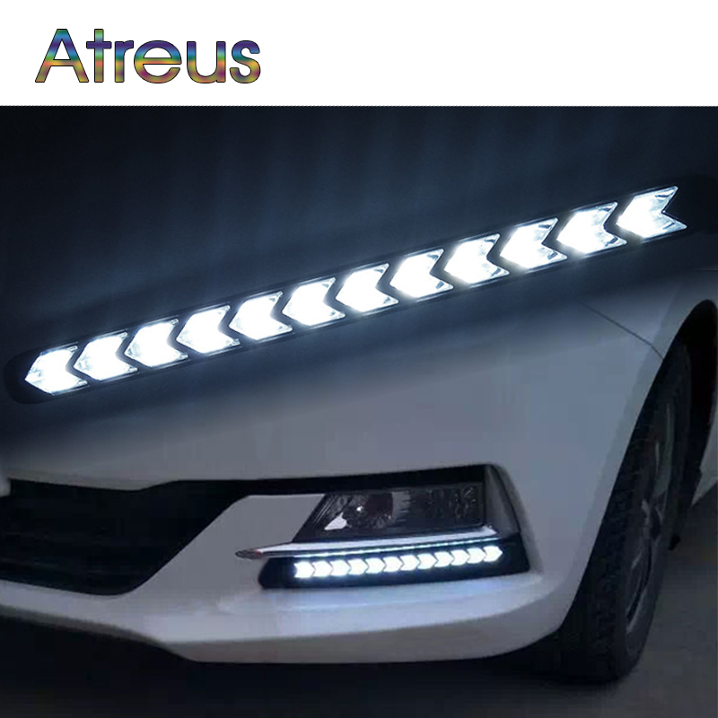 Atreus Car LED Day Lights For Audi a4 b6 a3 Infiniti BMW e46 e39 VW polo accessories 1Pair DRL fog lamp Yellow Turn Signals 12V atreus 1pair car led fender side turn signals