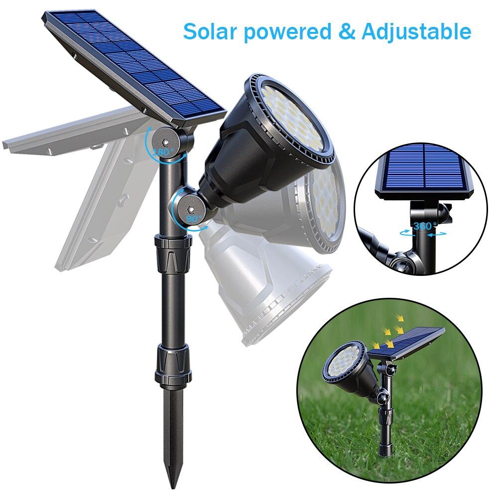 rgb lâmpada ajustável colorido refletor solar em-terra