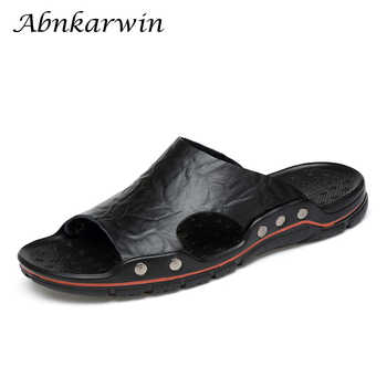 Brand Men Slippers Leather Popular Tide Comfortable Slides Men High Quality Massage Shoes Man Slippers Beach Plus Size 48 - DISCOUNT ITEM  45% OFF All Category