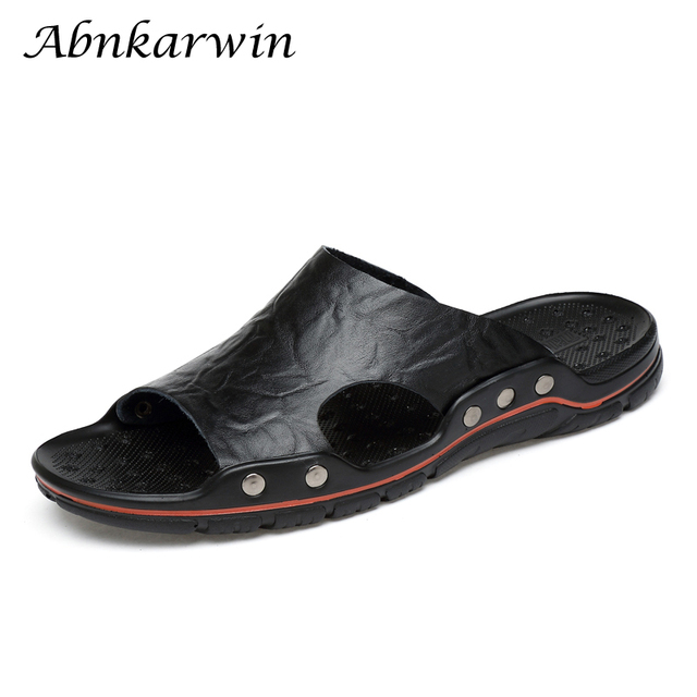 Summer Men Leather Slippers Mens Slides Chinelo Slide Masculino Slipper Plus Size Shoes Hot Sale Outside Flat 5 Colors