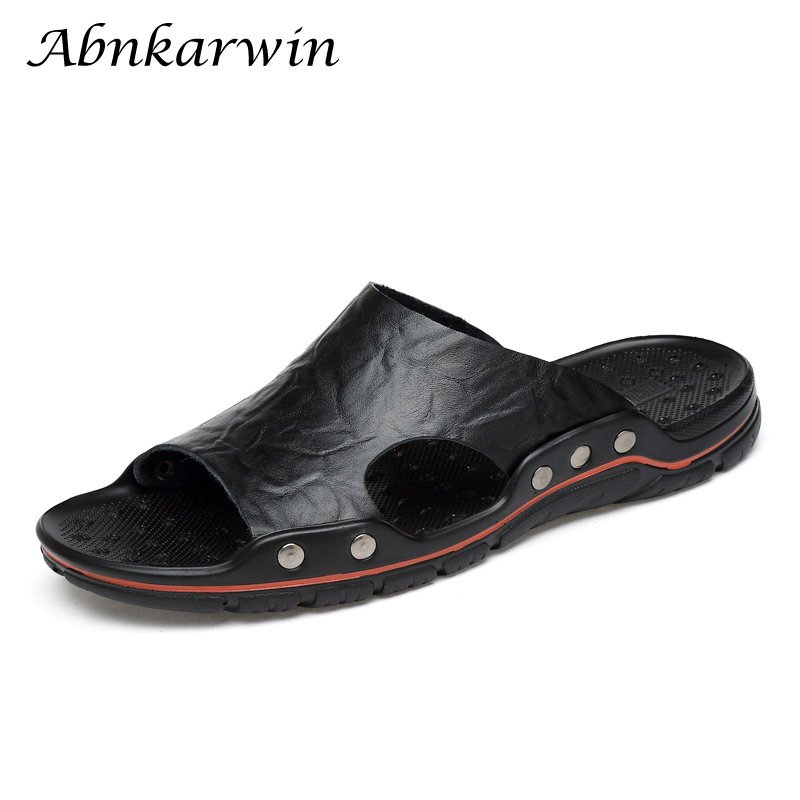 Large Size Men Comfy Backless Slippers Casual Leather Sandals Original