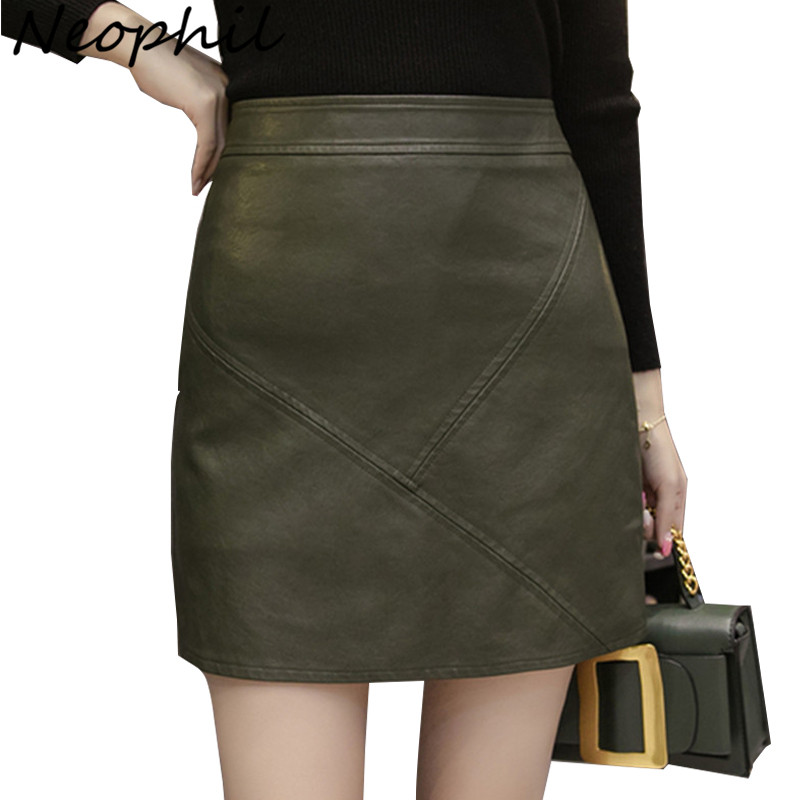 Neophil 2019 Winter PU Faux Leather Mini Skirt High Waist Tutu Saia Lapis Womens Vintage XXL Black Pencil Wrap Short Skirt S1808