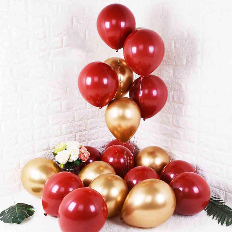 10 pièces 12 pouces Macaron Rouge Ballons En Latex De Mariage Fête D'anniversaire Gem Métal Or Hélium Ballon En Latex Bébé Décoration de Douche De Bébé Fille
