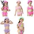 3 m-24 m 3 Pcs Conjunto Infantil Do Bebê Meninas Swimwear Crianças Biquíni biquini da menina Com Cap Praia crianças Meninas Swimsuit
