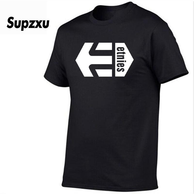 2019 Summer New Print Etnies T-Shirt Mens Black and White 100% Cotton Skateboard Boy