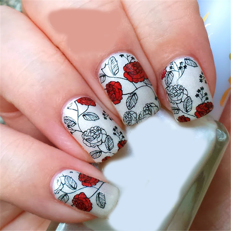 BORN PRETTY Red Rose Flower Nail Art Water Decals Transfer Sticker 2 ...