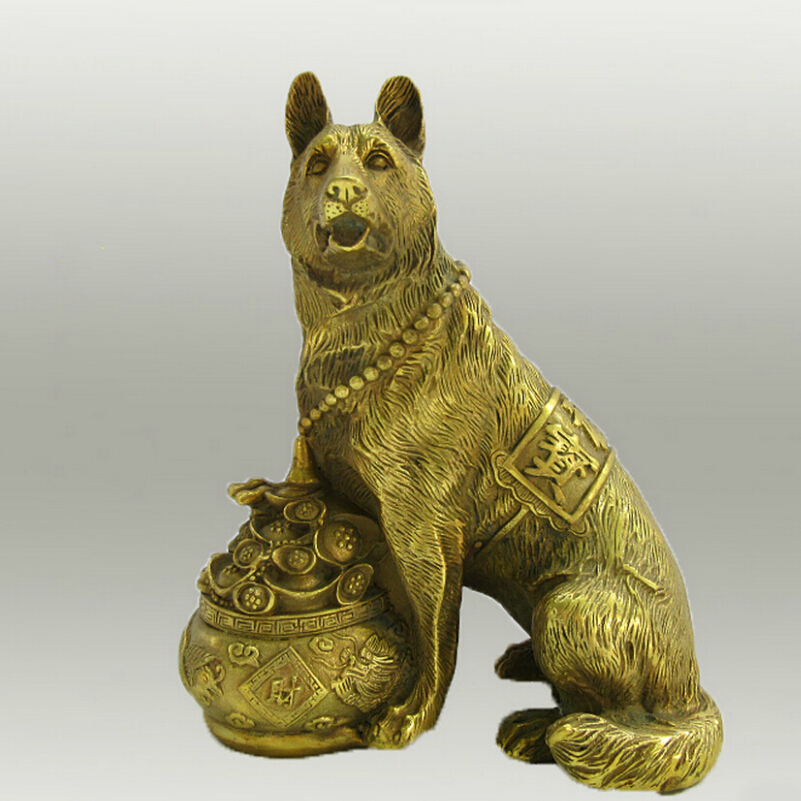 Collectible Chinese Decorated Brass Carved Money Dog Sculpture/Metal dog Statue 01 Statues & Sculptures Home & Garden - title=