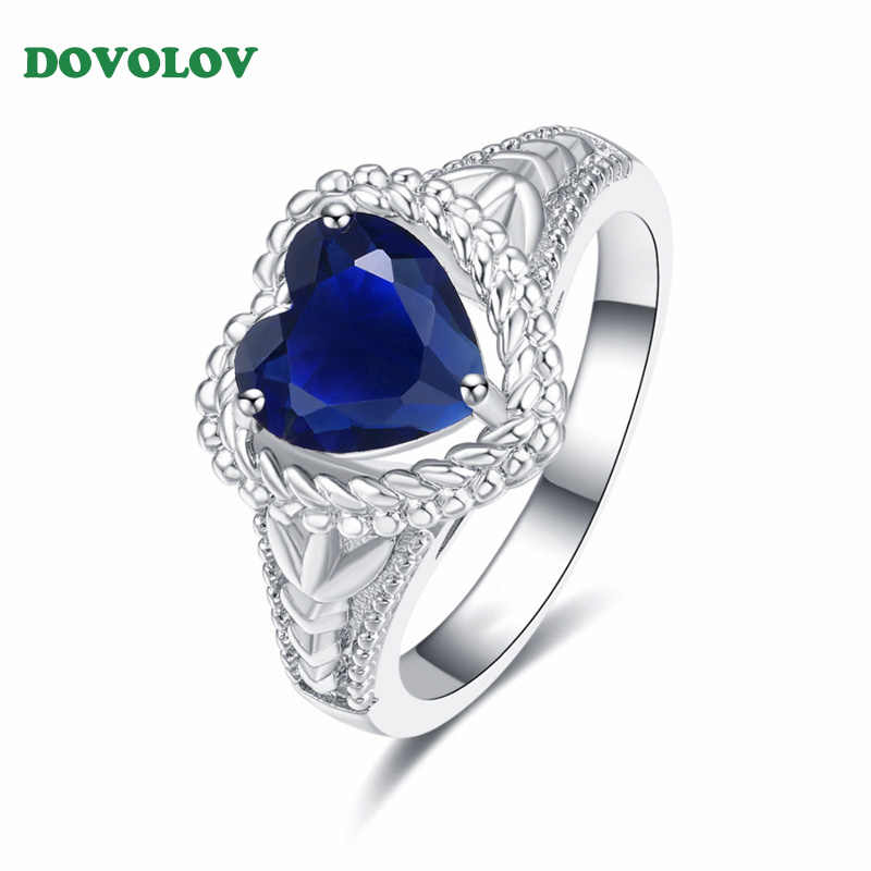 Dovolov The Titanic Ocean Blue Love Heart Rings for Women  Elegant Stylish Romantic Crystal Finger Ring  for Women Gift D3