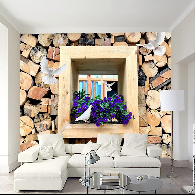American Country Wallpapers 3D Custom Large Murals Flowers Wallpaper for Walls 3D Wood Photo Wall Papers Living Room Home Decor