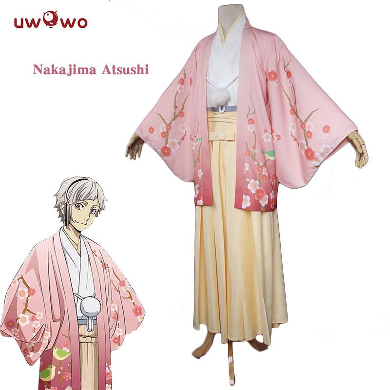 UWOWO Atsushi Nakajima Cosplay Bungo Stray Dogs Costume Japanese Kimono Yukata Pajamas Home Wear Bungo Stray Dogs Costume Men