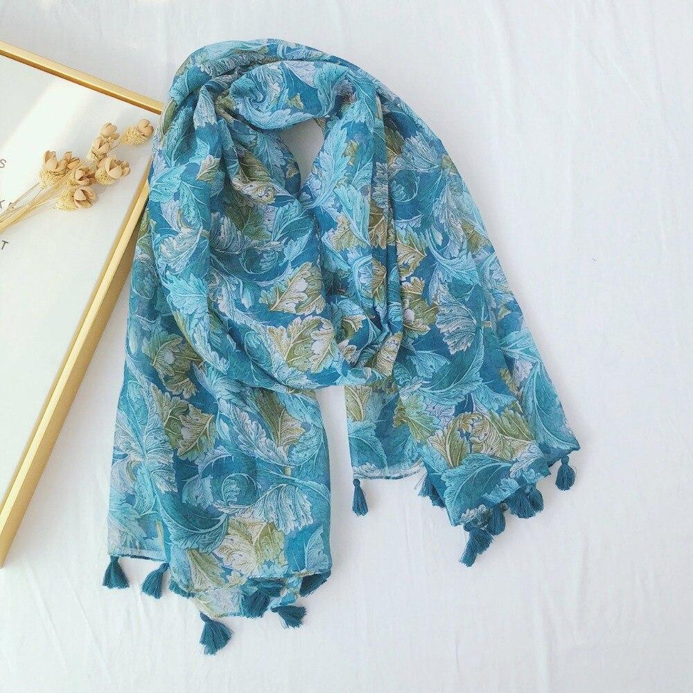 Women 2019 New Spring Summer Leaves Floral Tassel Viscose Shawl   Scarf   Ladies   Wrap   Headband Echarpe Foulard Muslim Hijab 180*90Cm
