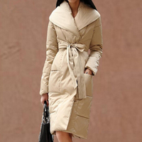Бесплатная доставка Зимний женский пуховик роскошный большой воротник белое утиное перо средней длины утепленное пуховое пальто
