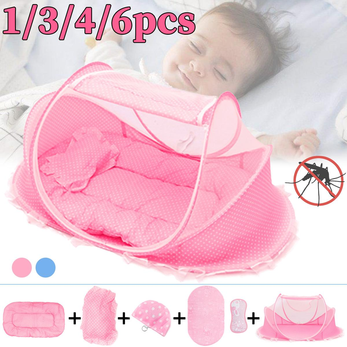 Portable Baby Mosquito Nets Bed Folding Baby Bedding Crib Netting Mattress Pillow Suit Music Bag For Children Tent Cradle Bed
