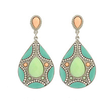 HuiMei Ethnic 2016 New Arrival Fashion Women Resin Beads Link Pendant Drop Earrings Statement Big Long Earrings Bohemia Vintage