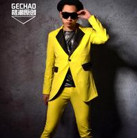 2018 Bright Yellow Long Suits Nightclub Bar Men Singers Slim Fit Suit Formal Dress Blazer Men Stage Costumes ! M 5XL