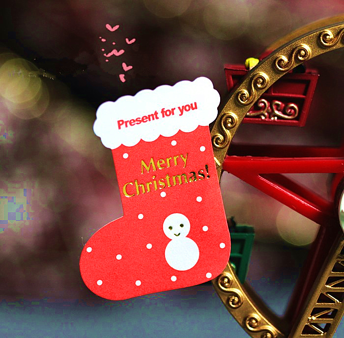 300pcs Merry Christmas Red Stockings Snowman Sticker Label Seal Box ...