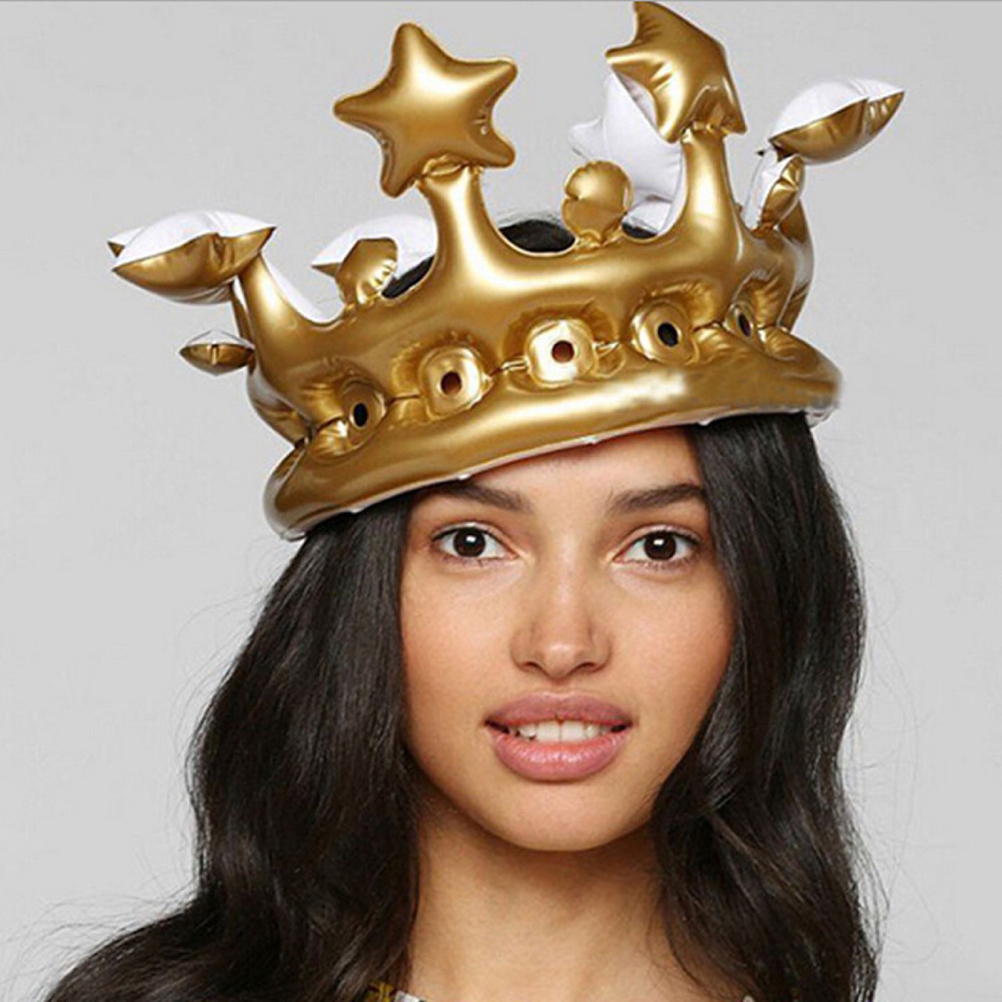 Cosplay Inflatable Gold Crown Kids Birthday Party Hat Tool