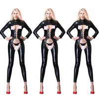 High Quality Sexy Lingerie Open Bra Long Sleeve Catsuit FulL Body Latex Suit Sexy Faux Leather Club Clothing Open Crotch