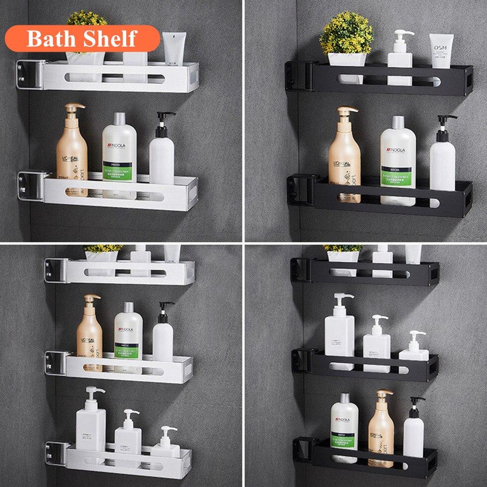 Bathroom 1\2\3 Tier Black Spice Rack Kitchen Pantry Rack Organizer Wall Hanging 180 Degree Rotating Corner Shelf