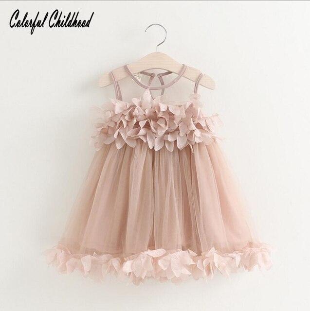 e8f6e86d1 € 6.58 9% de DESCUENTO|Vestido colorido de las muchachas del bebé de la  infancia vestido del chaleco del pétalo de la muchacha del verano ropa ...