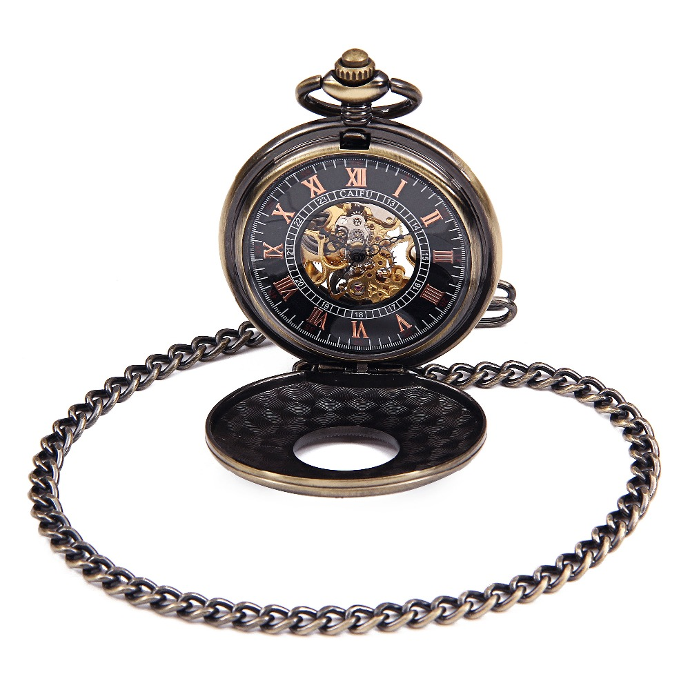 Antique Style Black Dial Hand Wind Mechanical Mens Pocket Watch W/ Chain Nice Xmas Gift Wholesale Price H092