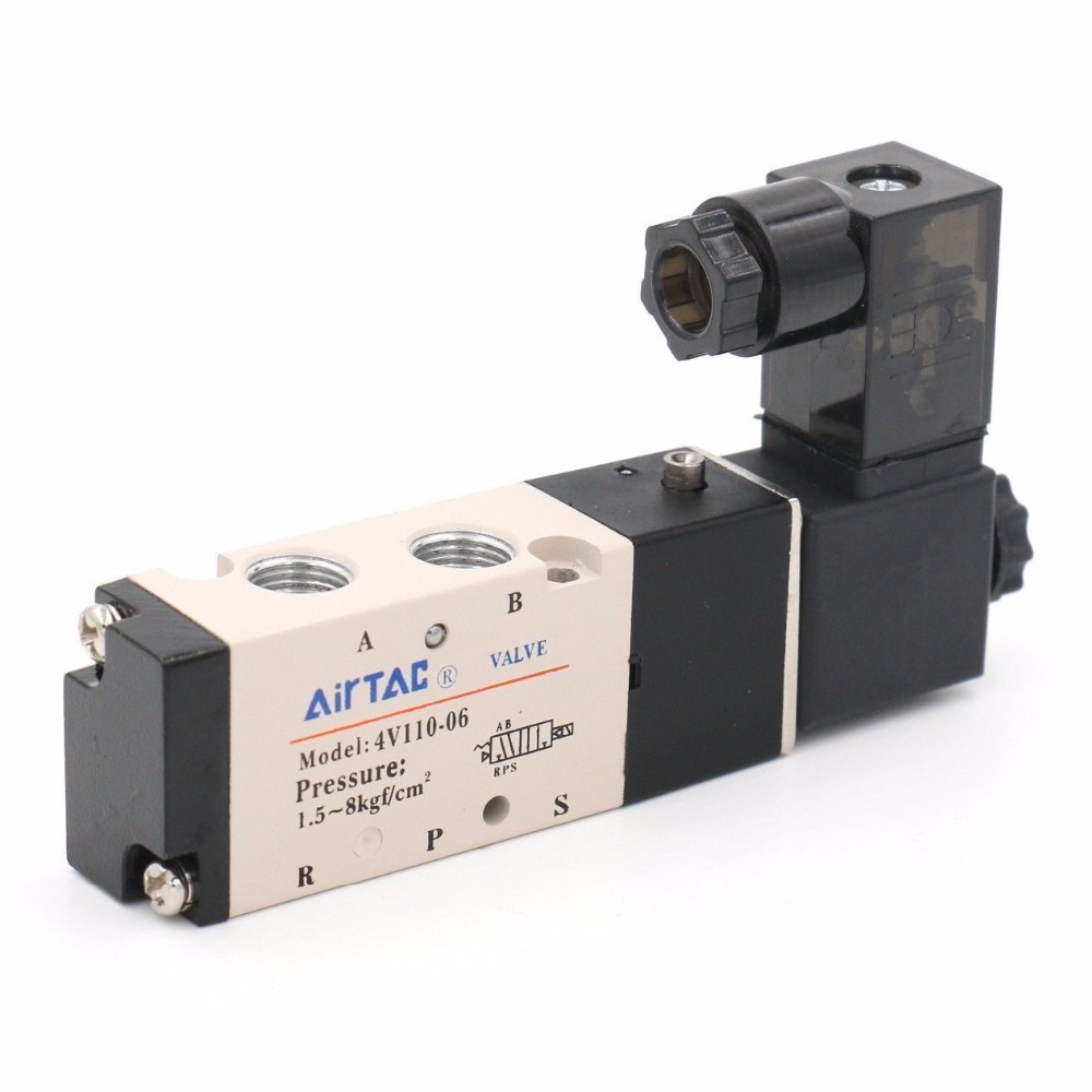 Solenoid Air Valve 4V110-06 5 Port 2 Position 1/8 BSP For Air Cylinder 1pcs 4v110 06 ac220v lamp solenoid air valve 5port 2position bsp
