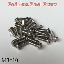 100pcs M3 Bolt A2-70 Button Head Socket Screw Bolt SUS304 Stainless Steel M3*10 mm Hex socket button head cap toy screw стоимость