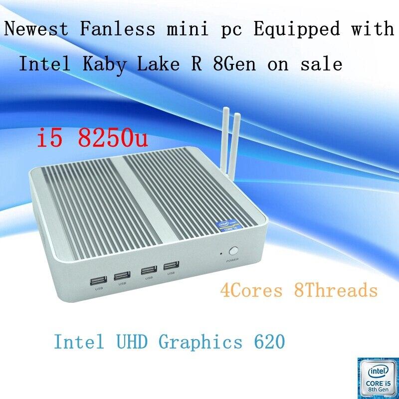 Mais novo Kaby Lago R 8Gen Fanless mini pc Intel i5 8250u UHD 620 win10 Quad Core 8 Tópicos DDR4 2133 2400 NUC Freeshipping pc