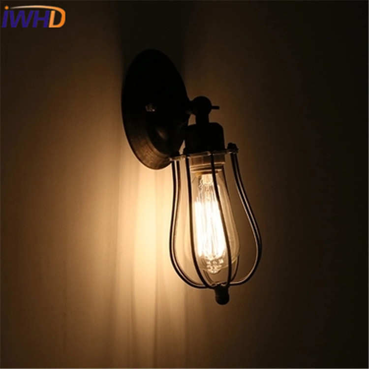 Industrial style Loft American country Iron Retro cages Vintage Wall lamp For Bedroom Lighting Antiqure Wall Light Fixtures american country style industrial wall lamp retro bar bedroom pulley light fixtures stairs wall lamp