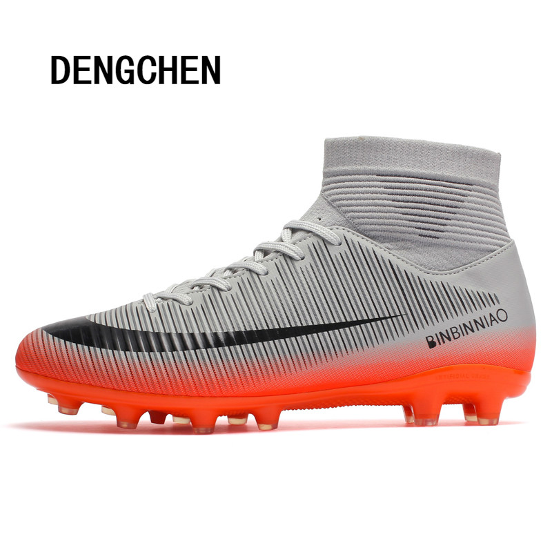 Men's High Top Training Ankle AG Sole Outdoor Cleats Football Shoes Spike High Ankle Men Crampon Football Boots Original Cleats(China)