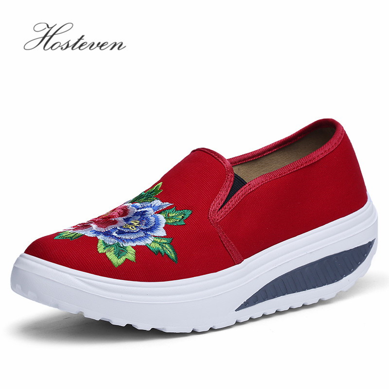 Hosteven Women's Shoes Chinese tyle Casual Platform Women Vulcanize Shoes Ladies Air Mesh Shoes Woman Sneaker Solid Footwear