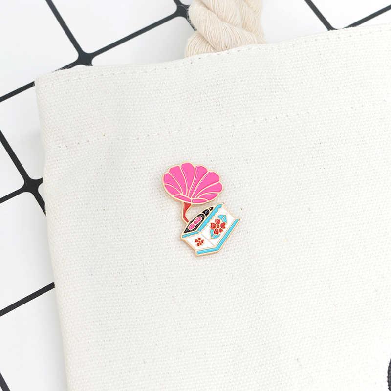 Bros & Pin Pink Retro Phonograph Bros Lencana Pin untuk Pakaian Ransel Kreatif Hadiah untuk Pecinta Musik