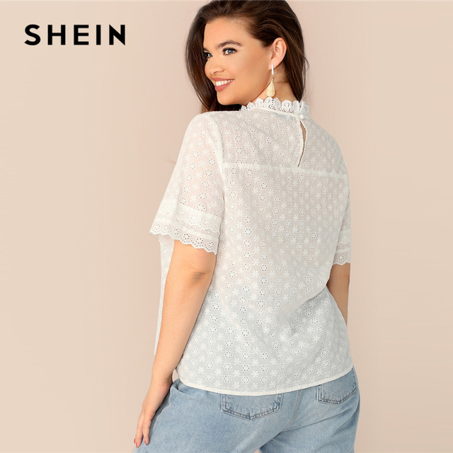 SHEIN Boho Plus Size White Contrast Lace Insert Schiffy Stand Collar Plain Top Blouse Women 2019 Spring Casual Top Blouses 1