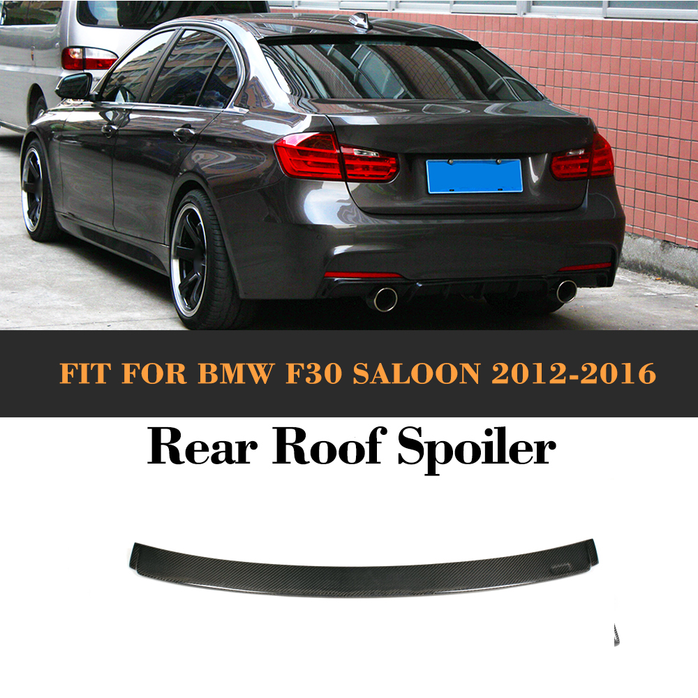 3 Series Roof Spoiler Auto Carbon Fiber Boots Trunk Wing Lip Spoiler for BMW F30 F80 M3 Sedan 4 Door 2012 - 2016 A Style M3 320i for 12 16 bmw 3 series f30 4dr trunk spoiler oem painted match a83 glacier silver