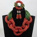 2017 Unique Style Red/Green Crystal Sets Nigerian African Wedding Bridal/Women Beads Necklace Jewelry Set Free Shipping ANJ312