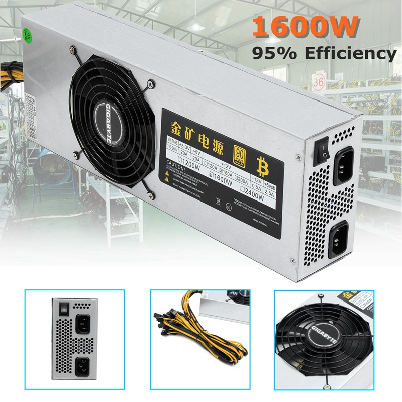 1600W 110-240V 90+ Mining Power Supply For Antminer Miner Eth Rig S7 S9 For L3 For L3+ New Computer power Supply For BTC