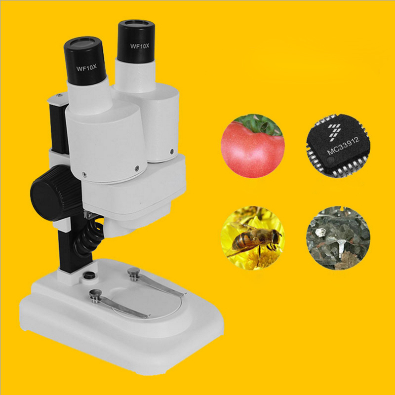 20x Student Zoom Stereo Microscope LED Binocular Stereo Microscope Tool Insect Plant Watch for Student Science Education 20x 40x sector base binocular stereo microscope pcb microscope cell phone mobile phone repair with top and bottom led light