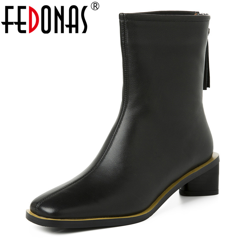 FEDONAS New Fashion Concise Square Toe Strange Style Women Ankle Boots Spring Autumn Genuine Leather Basic Office Shoes Woman