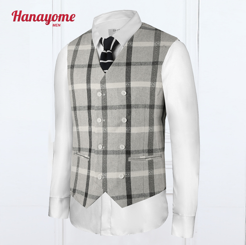 Elegant Plaid Vest Reporter Vest Men With Pockets White Waistcoat Fitness Formal Works Wear Double Breasted Western Vests SI29