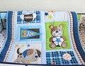 7 Pcs jogo de cama bordado 3D do cão e urso berço jogo de cama colcha saia de cama berço cama de algodão azul
