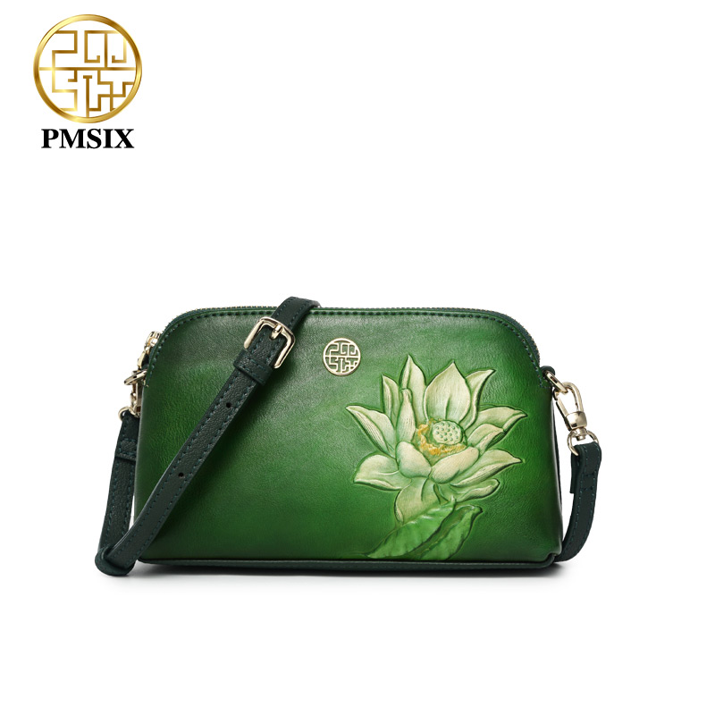 Pmsix real genuine leather bags for women High quality embossed Flowers Casual crossbody handbag Female fashion