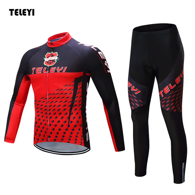 TELEYI Team Cycling Outfits Mens Ropa Ciclismo Long Sleeve Jersey Bib Pants Kits Bicycle Jacket Trousers Set Red-Black msk women s sequined paisley print 2pc jersey dress jacket set 14w black red