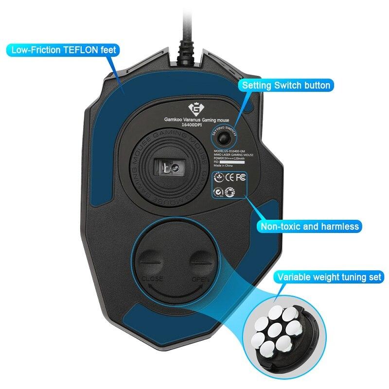 Rocketek Gaming series 50 à 16400 DPI Haute Précision Laser MMO Gaming Souris pour PC, 19 PCS Boutons [Compatible avec Windows 10] - 3