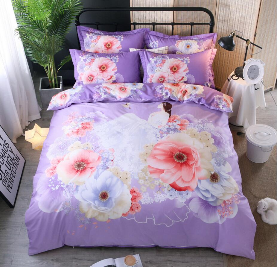 Flower Print Bedding Set Cotton 4pcs Princess Quilt Cover King Queen Size Home decoration Bedclothes Bed Sheet Set PillowcasesFlower Print Bedding Set Cotton 4pcs Princess Quilt Cover King Queen Size Home decoration Bedclothes Bed Sheet Set Pillowcases