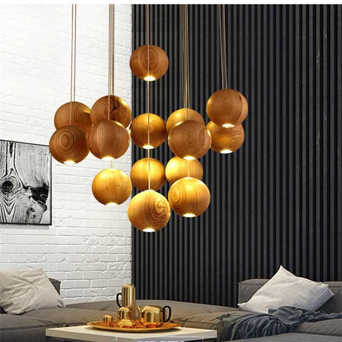 Modern Solid Wood Pendant Lamp Chinese Nordic Wooden Ball Light Fixtures Creative Minimalist Hanging Lamps For Bar Restaurant solid wooden restaurant lamp pendant lights wood nordic new rectangular bar led solid wood office pendant lamps mz141