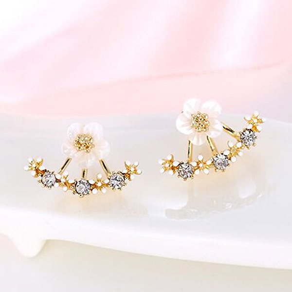 Flower Crystals Stud Earring for Women Rose gold color Double Sided Fashion Jewelry Earrings female Ear brincos Pending