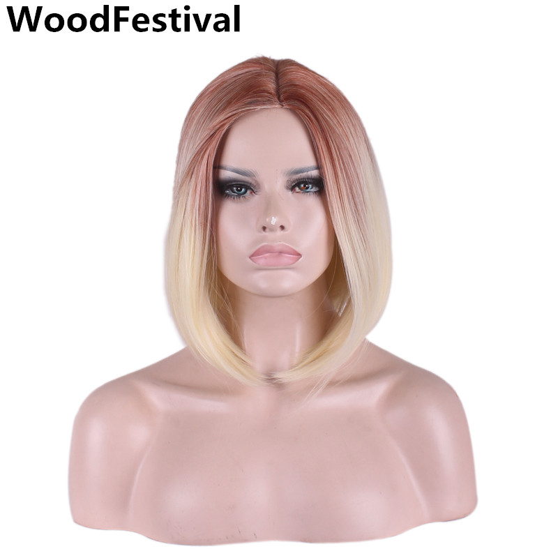 35cm wigs synthetic hair straight bob wig blonde golden ombre gradient wig heat resistant short bob wigs for women WoodFestival