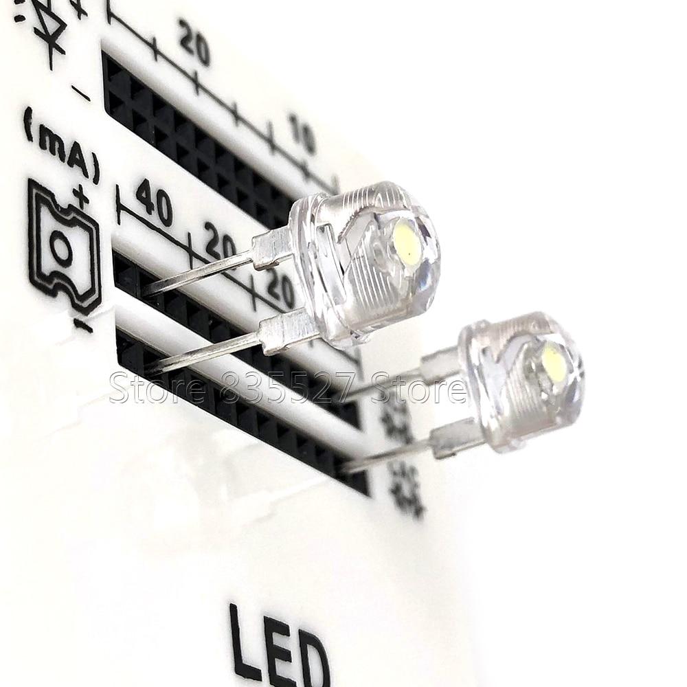 50PCS/LOT 8MM F8 White Straw Hat 53-58LM Super Bright Power 0.5W LED Light Emitting Diode (leds) For DIY Lights Lamp Bead