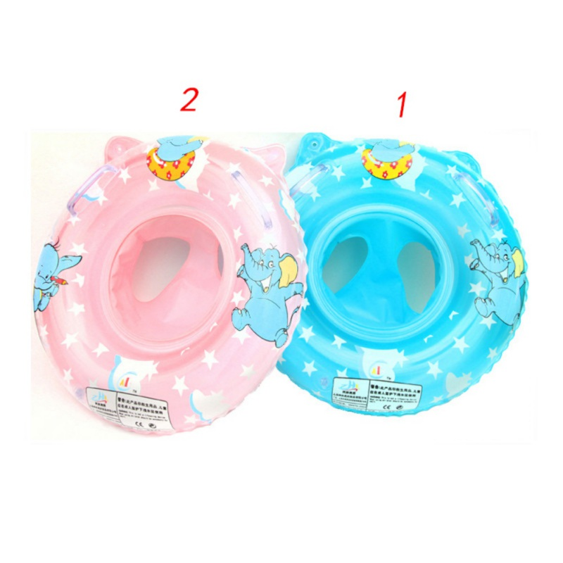 Safe Baby Bath Toys Environmentally Thickened Handle Swimming Lifebuoy Elephant Pattern Baby Swimming Seat