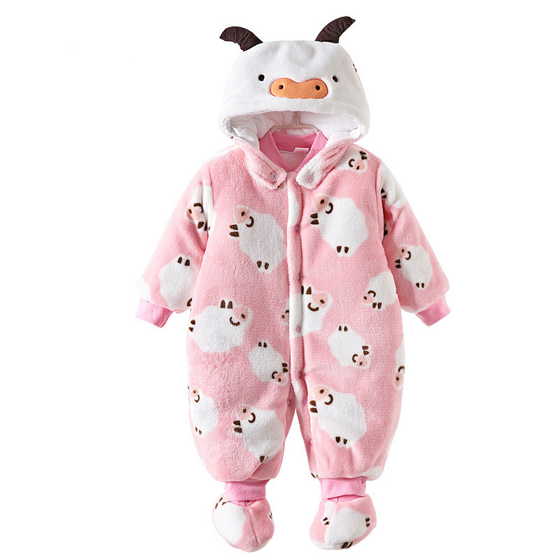 Baby Clothes Baby Rompers Winter newborn Christmas costumes baby Warm Long Cartoon Animal Overalls Jumpsuit Children Outerwear baby clothes baby rompers winter christmas costumes for boys girl zipper rabbit ear newborn overalls jumpsuit children outerwear